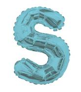 """14"""" Airfill with Valve Only Letter S Light Blue Balloon"""