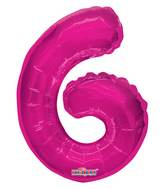 "14"" Airfill with Valve Only Number 6 Magenta Balloon"