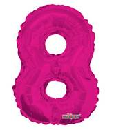 "14"" Airfill with Valve Only Number 8 Magenta Balloon"