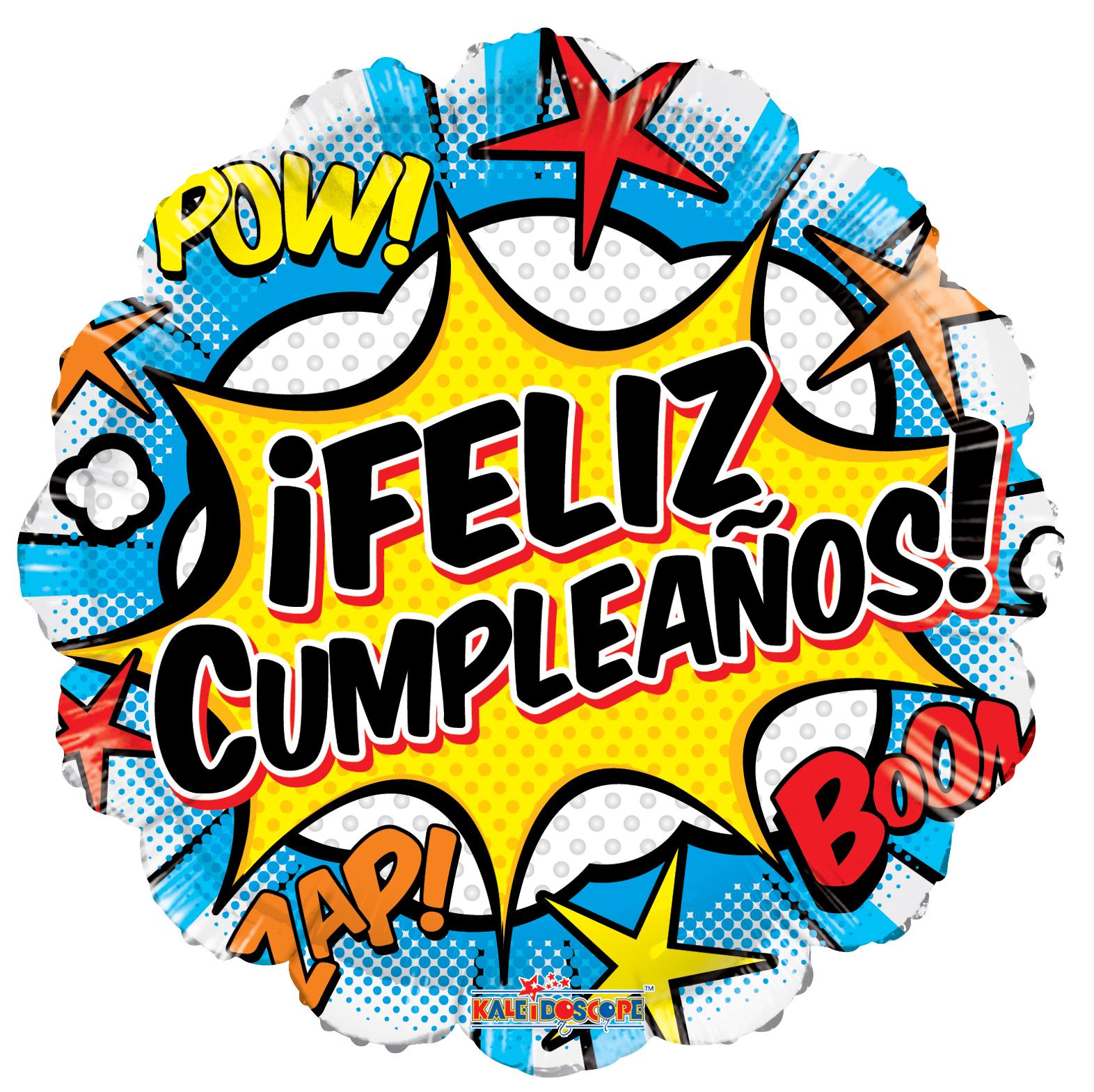 "18"" Feliz Cumple Comic Gellibean Balloon"