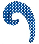"14"" Airfill Only Kurly Wave Royal Blue Dots Balloon"