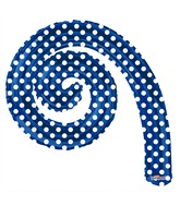 "14"" Airfill Only Kurly Spiral Royal Blue Dots Balloon"