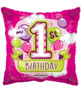"18"" 1st Birthday Girl Balloons Gellibean Balloon"