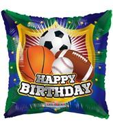 "18"" Happy Birthday Shield Sports Balloon"