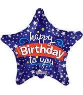 """9"""" Airfill Only Happy Birthday To You Star Balloon"""