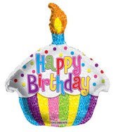 """12"""" Airfill Only Birthday Bright Cupcake Shape Balloon"""