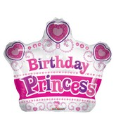 """12"""" Airfill Only Birthday Princess Crown Shape Balloon"""