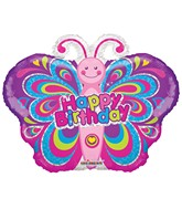 """12"""" Airfill Only Happy Birthday Colorful Butterfly Balloon"""