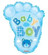 "14"" Airfill Only Baby Boy Foot Shape Gellibean Balloon"