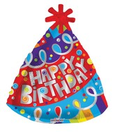 "18"" Happy Birthday Party Hat Shape Balloon"