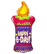 "36"" Happy B-Day Candle Shape Balloon"