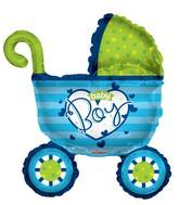 "14"" Airfill Only Baby Boy Stroller Shape Balloon"