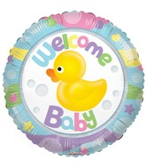 """18"""" Welcome Baby Rubber Duck Clearview Balloon"""