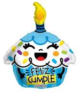 """18"""" Feliz Cumple Cupcake Azul Shape Balloon"""