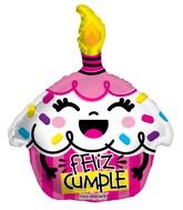 "18"" Feliz Cumple Cupcake Rosa Shape Balloon"