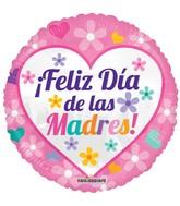 """18"""" Feliz Dia De Las Madres Pink Balloon"""