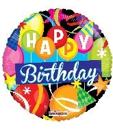 """9"""" Airfill Only Round Birthday Motifs Gellibean Balloon"""