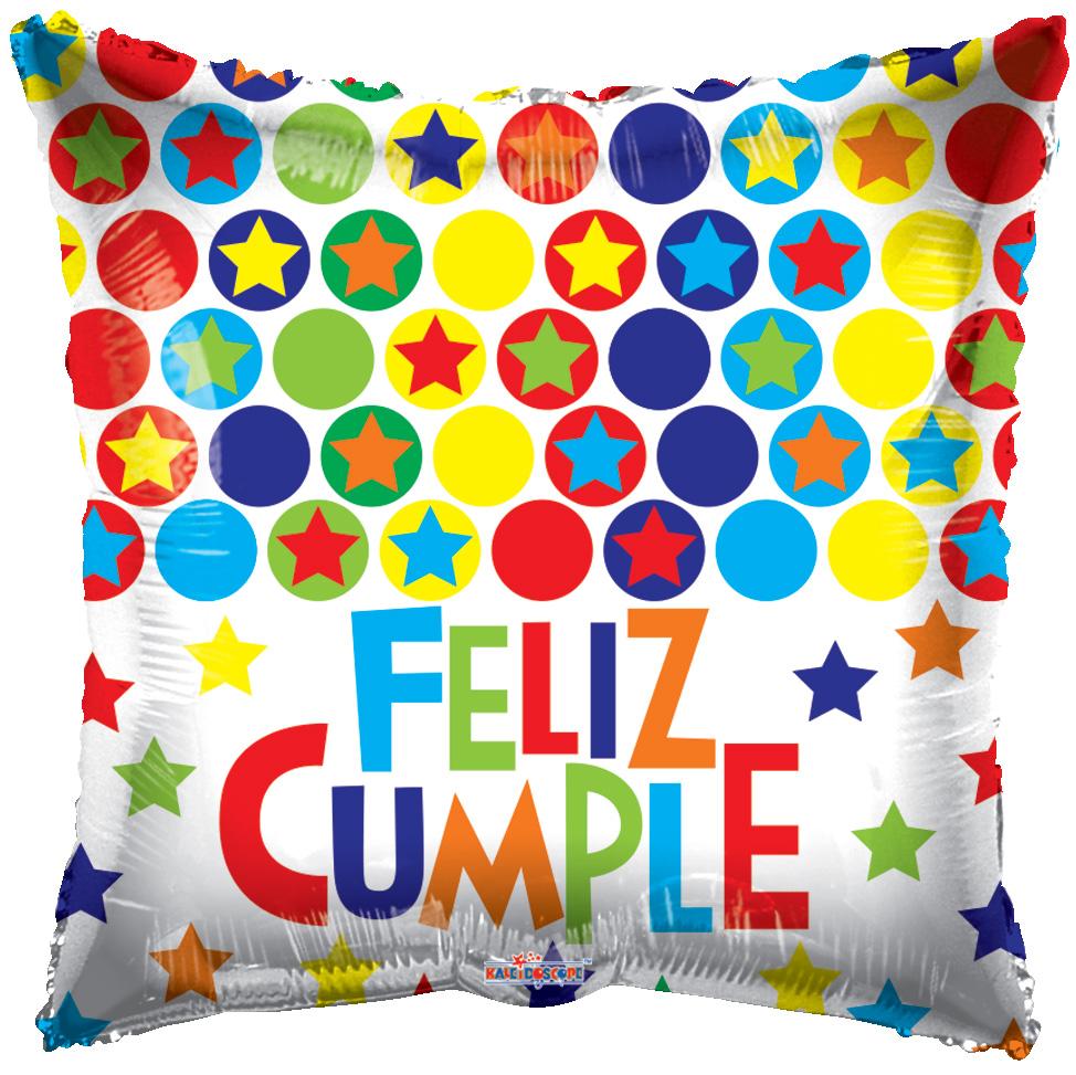 """18"""" Feliz Cumpleaños Dots & Stars Balloon"""