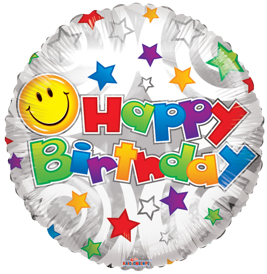 """18"""" Birthday Smiley White Balloon"""