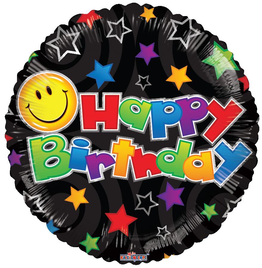 "18"" Birthday Smiley Black Balloon"