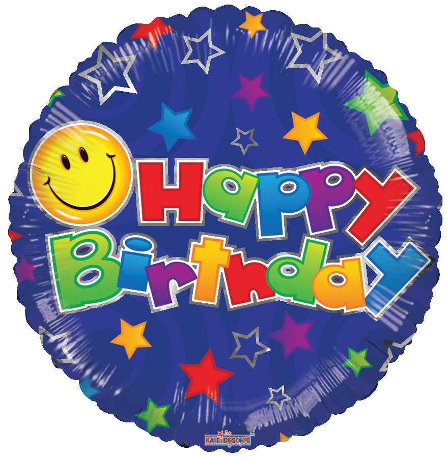 "18"" Birthday Smiley Blue Balloon"