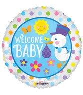 "18"" Welcome Baby Stork Balloon"