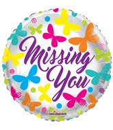 "18"" Missing You Butterflies Balloon"