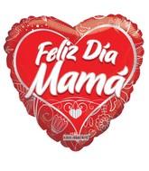"""18"""" Feliz Dia Mamá Corazon Rojo Balloon"""