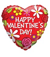 "18"" Happy Valentine's Day Flowers Balloon"