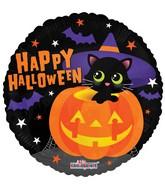 "18"" Halloween Cat With Hat Balloon"