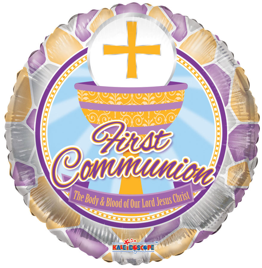 """18"""" First Communion Stained Glass Balloon"""