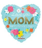"18"" Love You Mom Flowers Balloon"