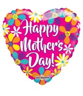 """18"""" Happy Mother's Day Pink Heart With Flowers Balloon"""