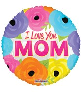 """18"""" I Love You Mom Bright Flowers Balloon"""