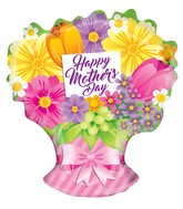 """18"""" Happy Mother's Day Sing Flowers Bouquet Shape Balloon"""
