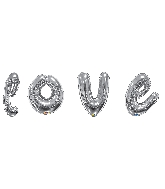"36"" Silver Love Script Assortment Balloon"
