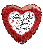 "4"" Airfill Only Feliz Dia De San Valentin Roses Balloon"