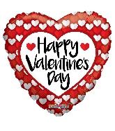 "36"" Happy Valentine's Day Red & White Hearts Balloon"
