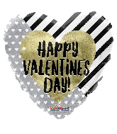 """18"""" Happy Valentine's Day Gold & Silver Holographic Balloon"""