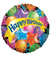 "4"" Airfill  HBD Festive Balloons"