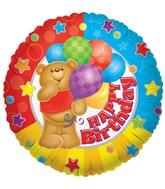 """9"""" Airfill Happy Birthday Bear Balloon"""