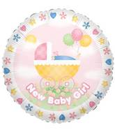 "9"" Airfill Only Baby Girl Stroller Balloon"