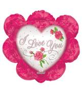 "14"" Airfill Only I Love You Ruffled Heart Pink Balloon"