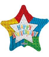 """4"""" Airfill Happy Anniversary Star Balloon"""
