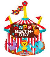 """14"""" Airfill Only Circus Happy Birthday Mini Shape"""