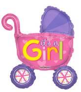 "14"" Airfill Only Baby Stroller Girl Mini Shape Balloon"