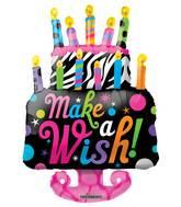 """36"""" Make A Wish Cake Shape Balloon"""