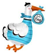"36"" Baby Boy Stork Shape Balloon"