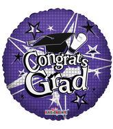 """18"""" Congrats Grad Stars Purple"""