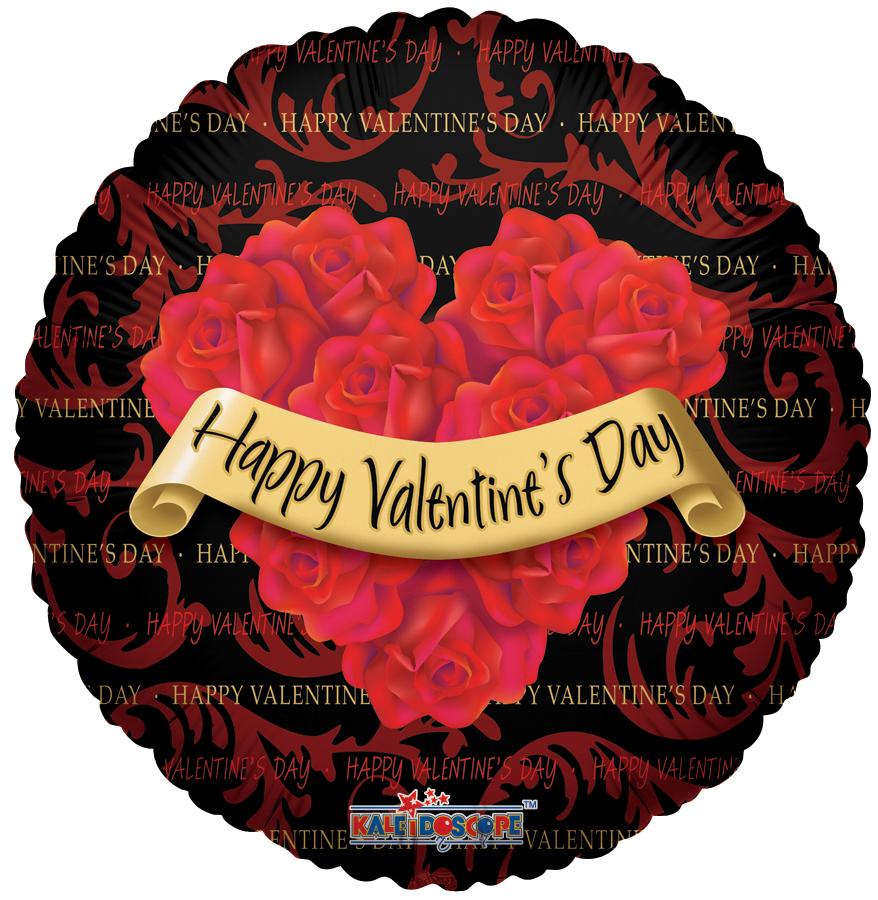 "18"" Happy Valentine's Day Balloon Roses Wreath Black"